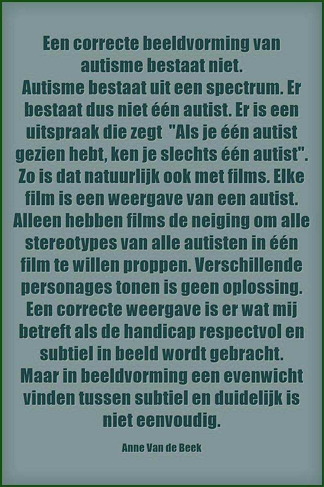 Een correcte beeldvorming van autisme bestaat niet (Anne van de Beek)
