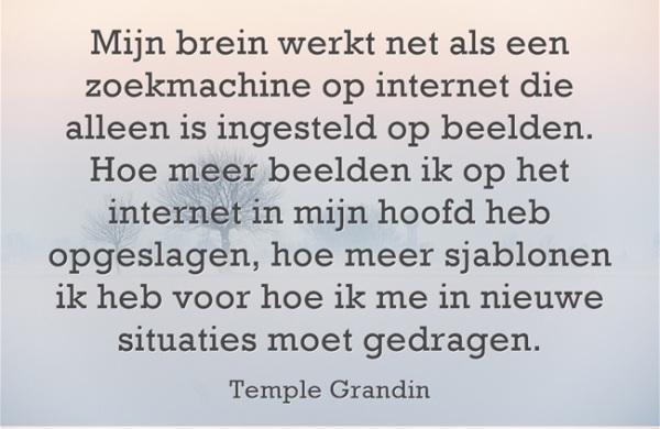 """""""Mijn brein werkt net als een zoekmachine op internet die alleen ingesteld is op beelden. Hoe meer beelden ik op het internet in mijn hoofd heb opgeslagen, hoe meer sjablonen ik heb voor hoe ik me in nieuwe situaties moet gedragen' - Temple Grandin"""