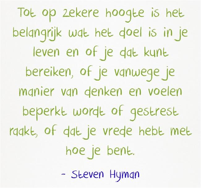 Tot op zekere hoogte is het belangrijk wat het doel is in je leven en of je dat kunt bereiken, of je vanwege je manier van denken en voelen beperkt wordt of gestrest raakt, of dat je vrede hebt met hoe je bent - Steven Hyman