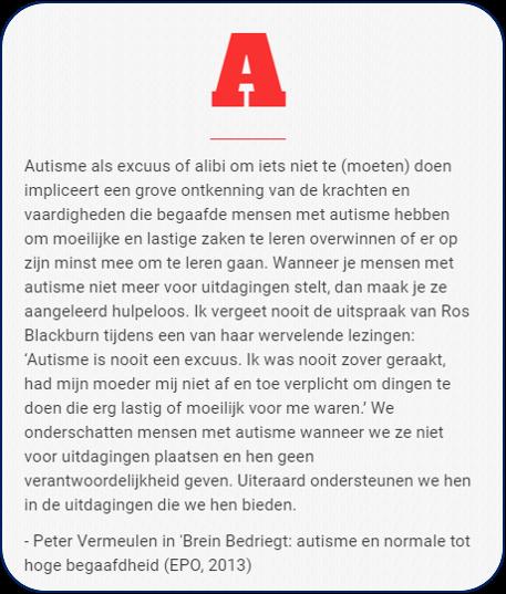 Autisms is geen excuus citaat Peter Vermeulen uit Brein Bedriegt